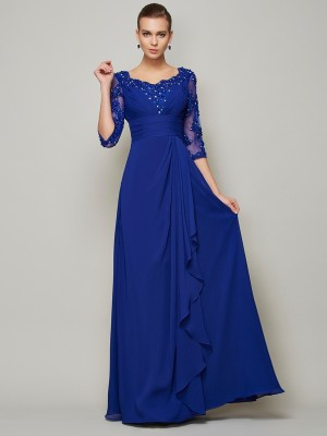 A-Line Chiffon Scoop 3/4 Sleeves Floor-Length With Lace Mother of the Bride Dresses