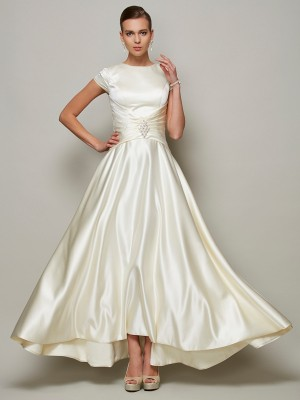 A-Line Satin Scoop Short Sleeves Floor-Length With Beading Mother of the Bride Dresses