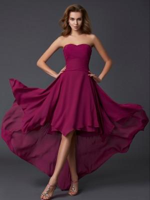A-Line Chiffon Sweetheart Sleeveless Asymmetrical With Pleats Dresses