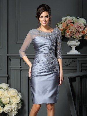 Sheath Satin Scoop 1/2 Sleeves Knee-Length With Beading Mother of the Bride Dresses