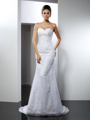 Mermaid Satin Sweetheart Sleeveless Court Train With Lace Wedding Dresses