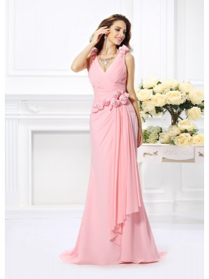 Mermaid Chiffon V-neck Sleeveless Sweep/Brush Train With Hand-Made Flower Bridesmaid Dresses