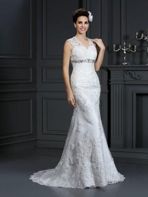 Sheath Lace V-neck Sleeveless Sweep/Brush Train With Beading Wedding Dresses