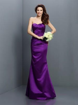 Mermaid Satin Strapless Sleeveless Floor-Length With Pleats Bridesmaid Dresses
