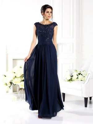A-Line Chiffon Scoop Sleeveless Floor-Length With Beading Mother of the Bride Dresses