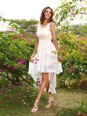 A-Line Lace V-neck Sleeveless Asymmetrical With Lace Bridesmaid Dresses