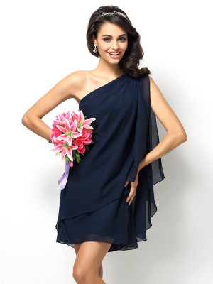 A-Line Chiffon One-Shoulder Sleeveless Short/Mini With Layers Bridesmaid Dresses