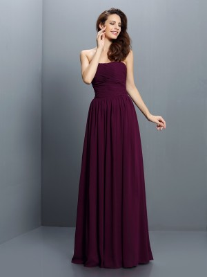 A-Line Chiffon Strapless Sleeveless Floor-Length With Pleats Bridesmaid Dresses