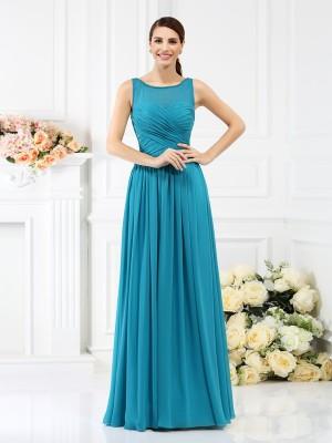 A-Line Chiffon Bateau Sleeveless Floor-Length With Pleats Bridesmaid Dresses