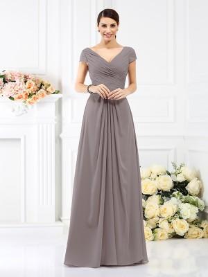 A-Line Chiffon V-neck Short Sleeves Floor-Length With Pleats Bridesmaid Dresses