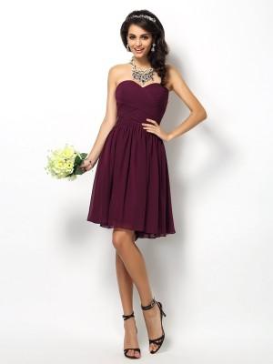 A-Line Chiffon Sweetheart Sleeveless Short/Mini With Pleats Bridesmaid Dresses
