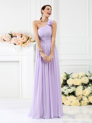 A-Line Chiffon One-Shoulder Sleeveless Floor-Length With Hand-Made Flower Bridesmaid Dresses