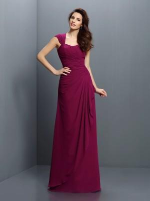 A-Line Chiffon Straps Sleeveless Floor-Length With Pleats Bridesmaid Dresses