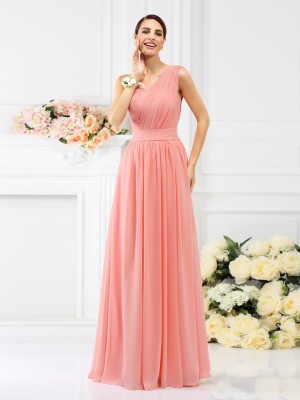 A-Line Chiffon One-Shoulder Sleeveless Floor-Length With Pleats Bridesmaid Dresses