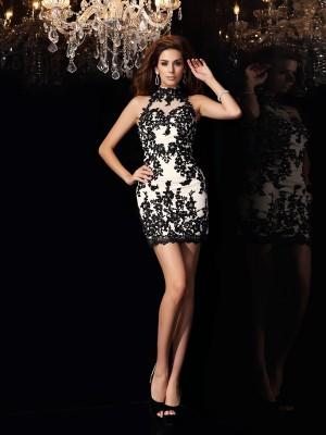 Sheath Chiffon High Neck Sleeveless Short/Mini With Beading Dresses