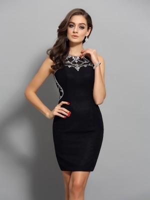 Sheath Chiffon Scoop Sleeveless Short/Mini With Beading Dresses