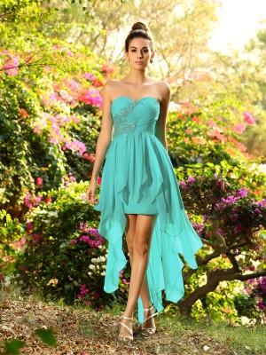 A-Line Chiffon Sweetheart Sleeveless Asymmetrical With Beading Bridesmaid Dresses