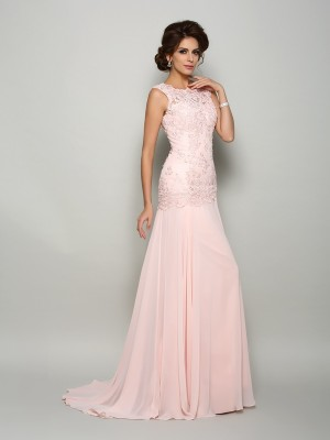 Mermaid Chiffon Scoop Sleeveless Sweep/Brush Train With Beading Mother of the Bride Dresses