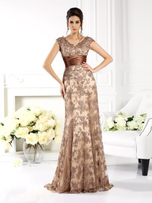 A-Line Lace V-neck Sleeveless Sweep/Brush Train With Ruffles Mother of the Bride Dresses