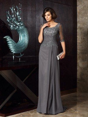 A-Line Chiffon Scoop 1/2 Sleeves Sweep/Brush Train With Beading Mother of the Bride Dresses