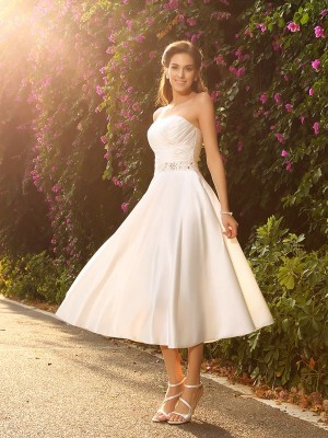 A-Line Satin Sweetheart Sleeveless Tea-Length With Beading Wedding Dresses