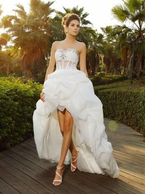 A-Line Organza Sweetheart Sleeveless Asymmetrical With Beading Wedding Dresses