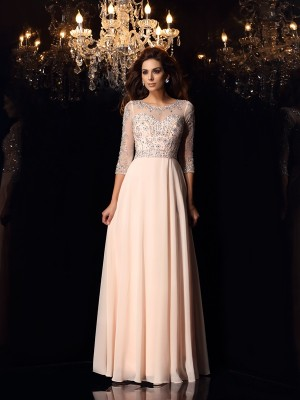 A-Line Chiffon Scoop 3/4 Sleeves Floor-Length With Beading Dresses