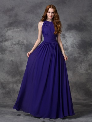 A-Line Chiffon Jewel Sleeveless Floor-Length With Ruched Bridesmaid Dresses