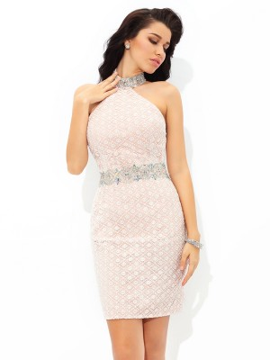 Sheath Satin Halter Sleeveless Short/Mini With Beading Dresses
