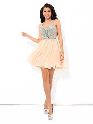A-Line Chiffon Straps Sleeveless Short/Mini With Rhinestone Dresses