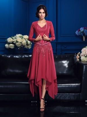 A-Line Chiffon V-neck Sleeveless Asymmetrical With Applique Mother of the Bride Dresses