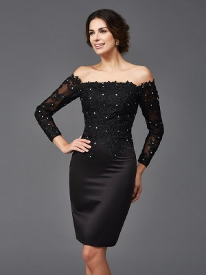 Sheath Satin Off-the-Shoulder Long Sleeves Knee-Length With Lace Mother of the Bride Dresses