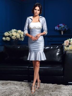Sheath Taffeta Sweetheart Sleeveless Short/Mini With Ruched Mother of the Bride Dresses
