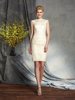 Sheath Elastic Woven Satin Bateau Short Sleeves Short/Mini With Lace Mother of the Bride Dresses
