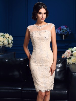 Sheath Lace Sheer Neck Sleeveless Short/Mini With Lace Mother of the Bride Dresses