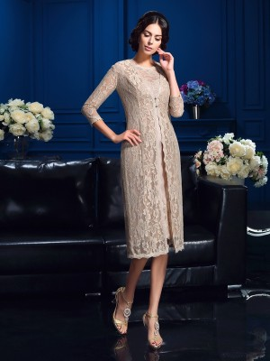 Sheath Taffeta Scoop Sleeveless Knee-Length With Lace Mother of the Bride Dresses