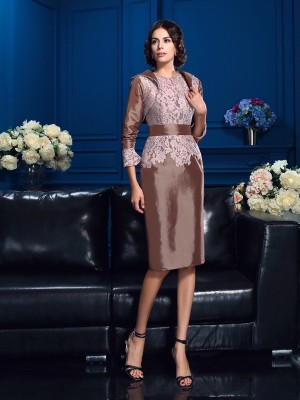 Sheath Taffeta Jewel Short Sleeves Knee-Length With Lace Mother of the Bride Dresses