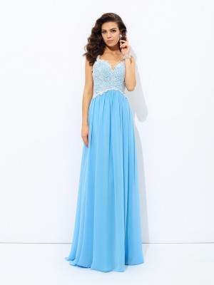 A-Line Chiffon V-neck Sleeveless Floor-Length With Lace Dresses