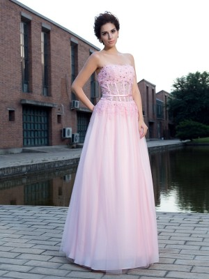 A-Line Net Straps Sleeveless Floor-Length With Applique Dresses