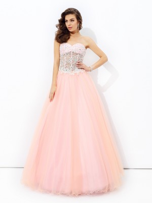 A-Line Net Sweetheart Sleeveless Floor-Length With Lace Dresses