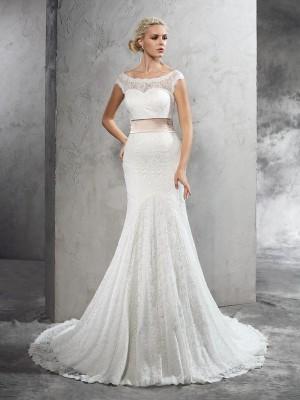 Sheath Lace Sheer Neck Sleeveless Court Train With Sash/Ribbon/Belt Wedding Dresses