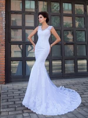 Mermaid Satin V-neck Sleeveless Chapel Train With Applique Wedding Dresses