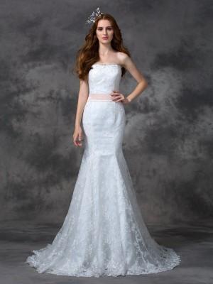 Mermaid Lace Strapless Sleeveless Court Train With Sash/Ribbon/Belt Wedding Dresses