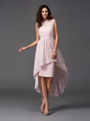 A-Line Chiffon Scoop Sleeveless Asymmetrical With Sash/Ribbon/Belt Bridesmaid Dresses