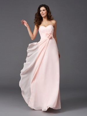 A-Line Chiffon Sweetheart Sleeveless Floor-Length With Hand-Made Flower Bridesmaid Dresses