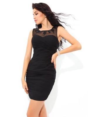 Sheath Chiffon Sheer Neck Sleeveless Short/Mini With Pleats Dresses