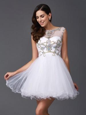A-Line Net Scoop Sleeveless Short/Mini With Beading Dresses