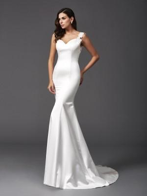 Mermaid Satin Straps Sleeveless Sweep/Brush Train With Beading Wedding Dresses