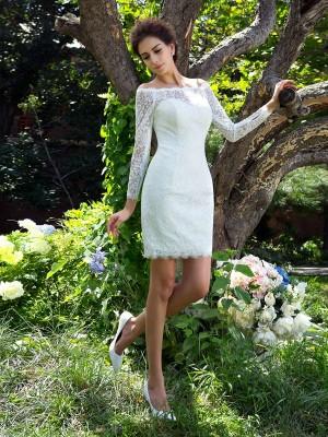 Sheath Satin Scoop Long Sleeves Short/Mini With Lace Wedding Dresses