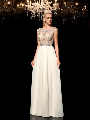 A-Line Chiffon Sheer Neck Sleeveless Floor-Length With Rhinestone Dresses